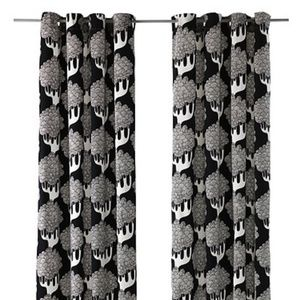 Pair of Ikea Kajsamia Black and White Curtains